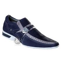Sapato Social Masculino Esporte Fino Azul Ref 5124p
