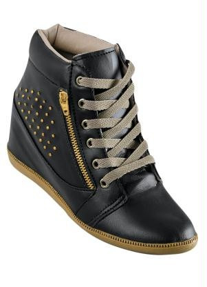 5bcdeeb0e8 Sneaker Feminino Tenis Bota Cano Alto Preto Couro Dourado - R  172 ...