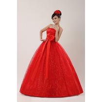 Vestido De Noiva Vermelho Ótima Qualidade A Pronta Entrega