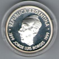 Moneda De Plata 1 Peso Borges 1999 Con Estuche Y Certificado
