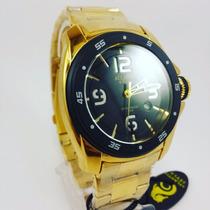 Relógio Dourado Masculino Atlantis Grande Esportivo + Brinde