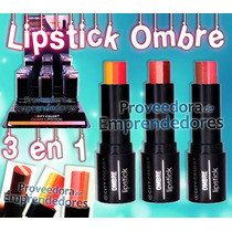 L-0037 Ombre Lipstick City Color 3 Colores Efecto Degradado
