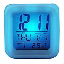 Reloj Despertador Cubo Led Cambia Color Temperatura Fecha