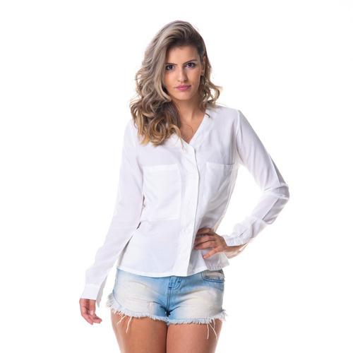 663becb0d Camisa feminina sem gola com bolsos em mercado livre jpg 500x500 Camisa  feminina gola cm