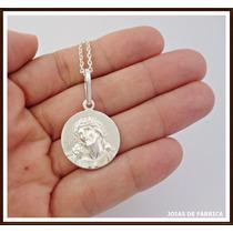 Pingente Medalha Rosto De Cristo, Prata 950 Frete Grátis