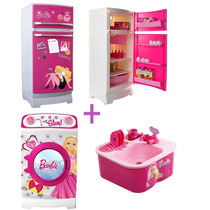 Combo Barbie Princesas Gra Heladera+ Lavarropas+ Lavavajilla