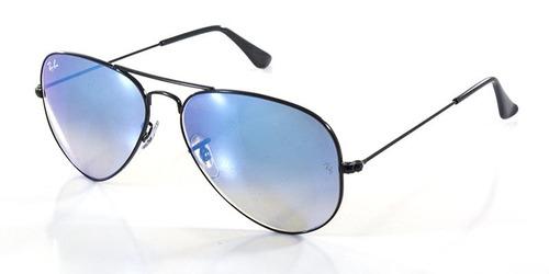 1edbd0cd7719d Óculos De Sol Rayban Aviador Rb3025 Preto Azul Espelhado - R  323