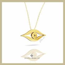 Pingente Olho De Horus Ouro 18k Amarelo Fosco 3cm