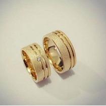 Aliança Em Prata Banhada A Ouro 18k Jateada Com 10mm