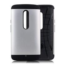 Funda Uso Rudo Para Motorola Moto X Play Plata