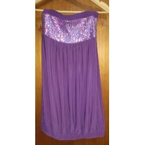 Vestido Corto Strapless Con Lentejuelas / Ideal Embarazo