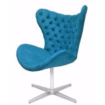 Cadeira Poltrona Giratória Suede Azul Turquesa Decorativa