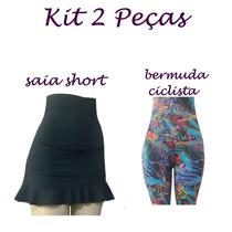 Kit 2 Peças:1 Bermuda Ciclista E 1 Saia Short Suplex .