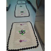 Kit 1 Passadeira + 2 Tapetes Cozinha Crochê Bordado 3 Peças