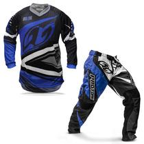 Kit Roupa Motocross Trilha Protork Insane 4 Azul Cinza