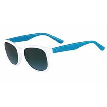Lentes Lacoste Nuevos Con Estuche De Sol Azul Con Blanco