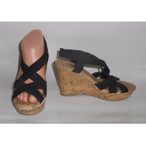 Montego Bay Club Zapatos Negros Imitación Corcho Wedge 23mex
