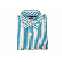 Camisa Social Tommy Hilfiger Verde Listrada G + Frete Grátis