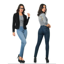 : Jeans Mezclilla Scandia Dama Slim Entubado Levanta Pompas