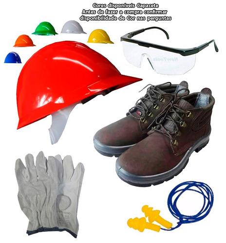 987d88b624e75 Kit Segurança Epi Bota Capacete Oculos Luva Protetor Ouvido - R  119 ...