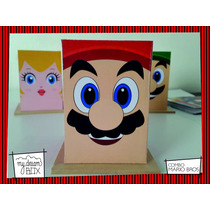Souvenir Evento Lapicero Personalizado Madera Mario Bros