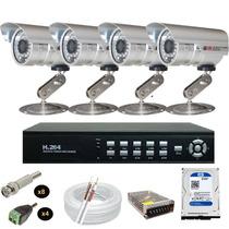 Sistema Vigilancia 4 Cameras Protecseg 1800 Linhas Hd 320gb