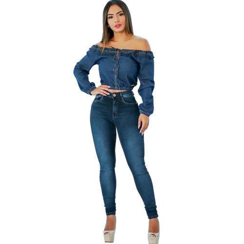 da083edf4 Calça Jeans Feminina Levanta Bumbum Cintura Alta Lycra Dins - R  90 ...