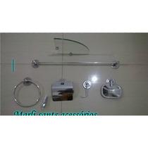 Kit De Acessorios Inox C/ Porta Shampoo De Canto