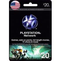 Tarjeta Gift Card Playstation Network $20 Usd Para Ps3 Y Ps4