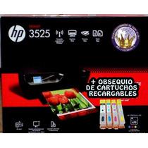 Multifuncional Hp 3525 Wifi + Cartuchos Recargables Vacios