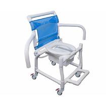Cadeira De Banho Higiênica Em Pvc Braço Escamoteável C/ Roda