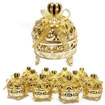 Kit Com 12 Mini Porta Jóias Douradas Realeza Lembrancinhas