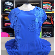 Blusa Flor Linda - Festa - Plissada - C/bordado - Azul