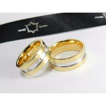 Par De Alianças Em Ouro 18k Diamantes Prince Diferentes