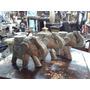 Elefante Hindu Antiguo Madera Y Lamina De Baño De Plata