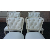 Sillas Francesas Luis Xv Blancas C/tapizado Nuevo 4 Sillas