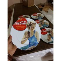 Jogo 6 Pç Coca Cola Produto Original Porcelana 27x27 Cm