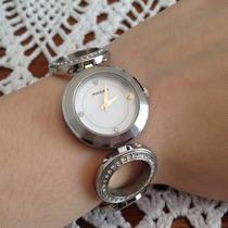 Relógio Feminino Akium Vivara Prateado Em Aço Elos Cristais