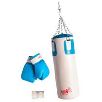 Kit Boxeo Bolsa Relleno Cadenas Guantes Vendas Adn Fitness