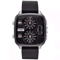 Relógio Diesel Quadrado Pulseira/couro 3 Máquinas Dz7302/0pn