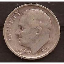 Moneda De Plata 1946 Estados Unidos 1 Dime Usada