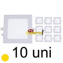 10 Painel Plafon 12w Led Quadrado 3000k Embutir Teto Gesso
