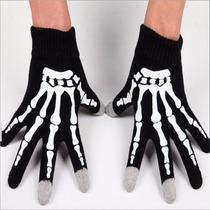 Luvas Pretas Estampa Caveira Esqueleto Fantasia Rock Touch