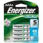 Energizer Paquete De 4 Baterias Aaa Recargables Nh12bp-4