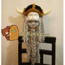 Gorro Vikingo Con Barba Desmontable Crochet Tejido
