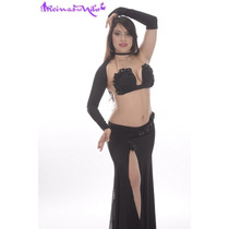 Traje Flores Y Strass Para Danza Arabe Belly Dance