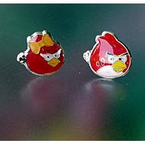 Aretes Niña Bebe Angry Birds Red Pájaro Niño Furioso Plata