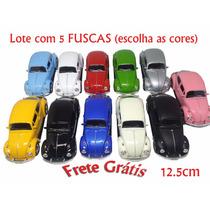 Carrinhos Fuscas Lote C/ 5 Cores - Ferro + Frete Grátis 1:32