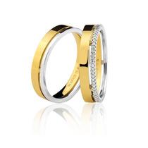 Par Alianças Bruner Ouro 18k Casamento Polida Reta Quadrada