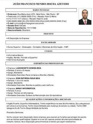 Curriculo Curriculum Vitae Foto Emprego Trabalho R 8 00 Em